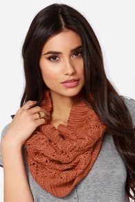 Roxy Cuddle Burnt Orange Knit Infinity Scarf at Lulus.com!