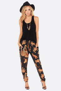 Lira Here Kitty Kitty Black Leopard Print Pants at Lulus.com!