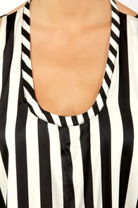 Stripe Up the Band Black and White Striped Maxi Dress at Lulus.com!