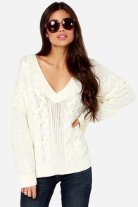 Irish You Were Here Cream Cable Knit Sweater at Lulus.com!
