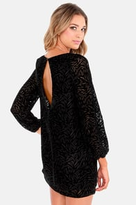 Land of the Midnight Sun Black Velvet Shift Dress at Lulus.com!