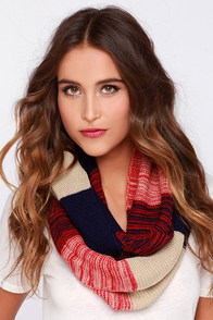 Warm Embrace Red and Navy Blue Striped Infinity Scarf at Lulus.com!