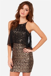 Dress the Population Camille Gold Sequin Dress at Lulus.com!
