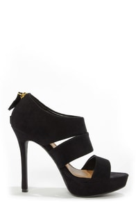 My Delicious Large Black Suede Cutout Peep Toe Heels at Lulus.com!
