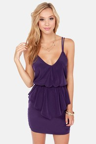 Dance Till Dawn Purple Peplum Dress