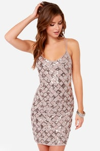 Dazzle and Amaze Beige Sequin Dress at Lulus.com!