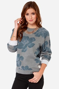 Obey Seygrid Crew Grey Floral Print Sweater at Lulus.com!