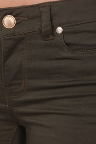 Moto Super Skinny Khaki Skinny Jeans at Lulus.com!