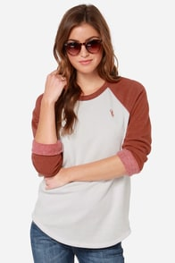 Obey Lofty Mountain Rust Orange and Cream Sweater at Lulus.com!