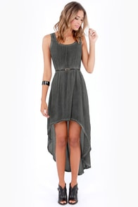 Others Follow Pick Me Up Washed Grey High-Low Dress at Lulus.com!