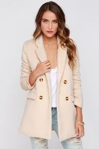 Penn Station Cream Faux Fur Coat at Lulus.com!