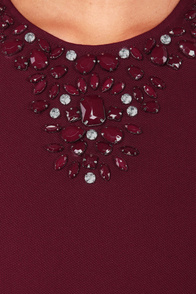 Gem Fatale Beaded Burgundy Dress at Lulus.com!