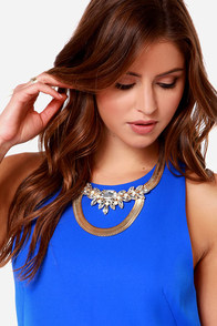Second Act Gold Rhinestone Necklace at Lulus.com!