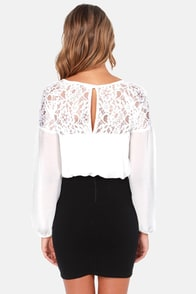 Flow-It-All Long Sleeve Ivory Lace Top at Lulus.com!
