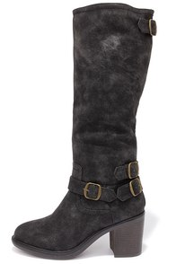 Double-Strut Burnished Black High Heel Boots at Lulus.com!