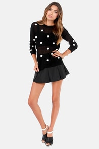 Dot's All She Wrote Black Polka Dot Sweater at Lulus.com!