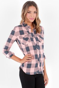 O'Neill Birdie Blue and Pink Plaid Button-Up Top at Lulus.com!