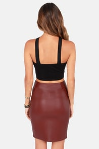 Working Wonders Burgundy Vegan Leather Skirt at Lulus.com!