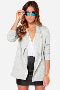 Jack by BB Dakota Davy Heather Grey Cardigan Sweater