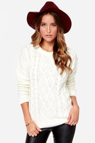 Obey Heith Cream Cable Knit Sweater at Lulus.com!