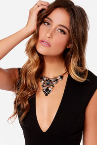 The Runaround Black Rhinestone Collar Necklace at Lulus.com!