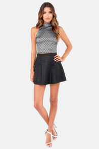 High Hopes Silver and Black Brocade Top at Lulus.com!