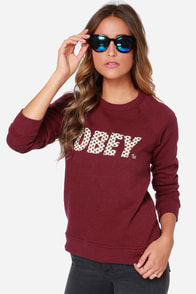Obey Tie Font Burgundy Print Sweater at Lulus.com!