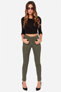 Obey Kershaw Army Green High-Waisted Skinny Jeans at Lulus.com!