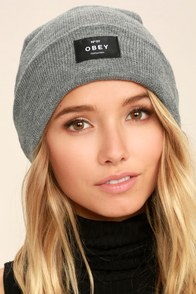 Obey Vernon Heather Grey Beanie at Lulus.com!