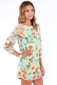 Peter Pansy Mint Green Floral Print Shift Dress at Lulus.com!