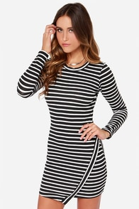 Lydia Deetz Black and Ivory Striped Long Sleeve Dress at Lulus.com!