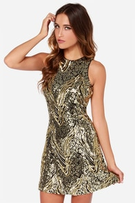 Dress the Population Mia Black and Gold Sequin Dress at Lulus.com!