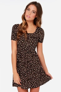 Billabong Bringin It Back Dark Brown Floral Print Dress at Lulus.com!