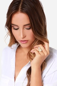 Zad Tied to You Gold Crystal Ring at Lulus.com!