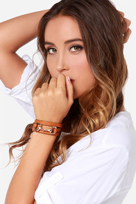 Gone Equestrian Tan Vegan Leather Wrap Bracelet at Lulus.com!