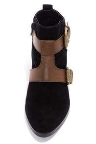 Kelsi Dagger Kolete Black and Brown Suede Ankle Boots at Lulus.com!