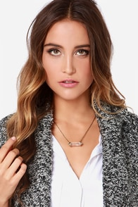 Level Out Gold Crystal Necklace at Lulus.com!