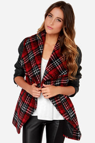Crisscross Reference Red Plaid Vegan Leather Coat at Lulus.com!