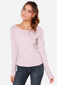 RVCA Label Wilding Pale Mauve Sweater at Lulus.com!