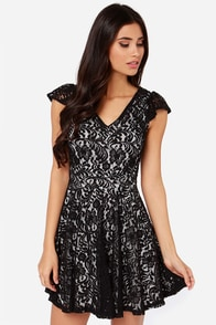 LULUS Exclusive Midnight Cap Ivory and Black Lace Dress at Lulus.com!