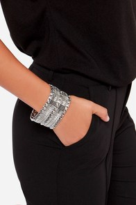 Set Spike Silver Studded Bracelet at Lulus.com!