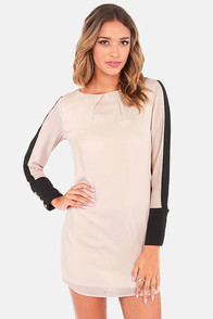 Shift Into Gear Black and Beige Shift Dress
