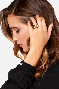 What A Pear Gold Rhinestone Ring at Lulus.com!
