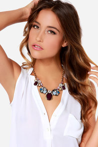 Spin the Bauble Plum Purple Rhinestone Statement Necklace at Lulus.com!