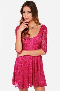 LULUS Exclusive Head Over Feels Fuchsia Lace Dress at Lulus.com!