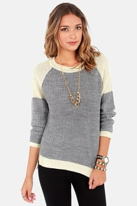 Cozy Disposition Cream and Grey Sweater