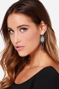 Post Haste Gunmetal Rhinestone Earrings at Lulus.com!