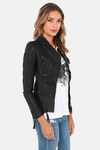 Zip Out Black Vegan Leather Moto Jacket at Lulus.com!