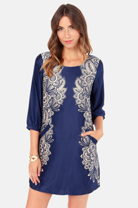 Lavand Quick Draw Blue Floral Print Shift Dress at Lulus.com!