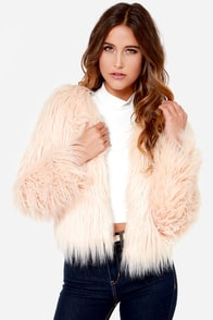 Good Hair Day Cream Cropped Faux Fur Jacket